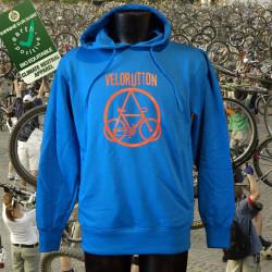 Velorution, homme sweat capuche bio-equitable bleu