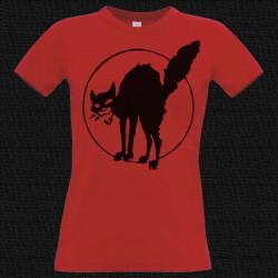 Chat Noir, t-shirt femme rouge