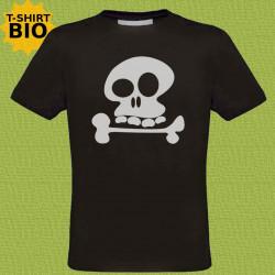 Tête de mort, t-shirt bio, homme, noir