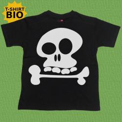 Tête de mort, t-shirt bio, enfant, noir.