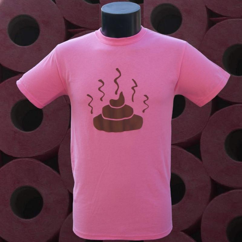 Caca sur t-shirt rose