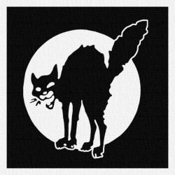 Chat Noir - Patch à coudre - 9x9cm