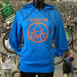 Velorution, fille sweat capuche bio-equitable bleu devant