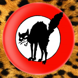 Chat Noir (rouge) - Badge Ø25mm