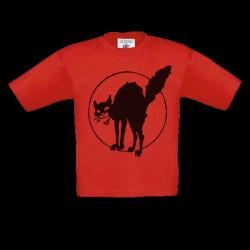 Chat Noir, t-shirt rouge, enfant.
