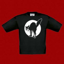 Chat Noir, t-shirt noir, enfant.