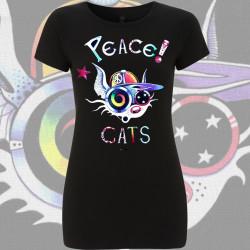 PEACE CATS t-shirt Femme bio-équitable