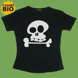 Tête de mort, t-shirt bio, Femme, noir
