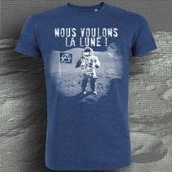 Nous voulons la lune T-shirt masculin Indigo Chiné