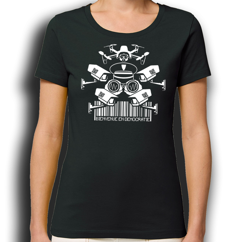 BIENVENUE EN DÉMOCRATIE t-shirt taille féminine en coton bio-équitable