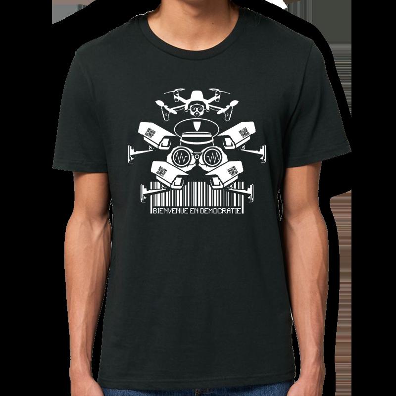 BIENVENUE EN DÉMOCRATIE t-shirt taille masculine en coton bio-équitable